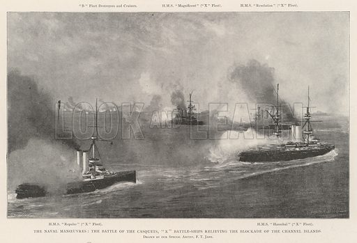 "The Naval Manoeuvres, the Battle of the Casquets, ""X"" Battle-Ships relieving the Blockade of the Channel Islands. Illustration for The Illustrated London News, 17 August 1901."