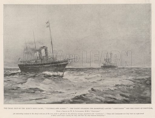 """The Trial Trip of the King's New Yacht, """"Victoria and Albert,"""" the Yacht speaking the Homeward-Bound """"Centurion"""" off the Coast of Portugal. Illustration for The Illustrated London News, 24 August 1901."""