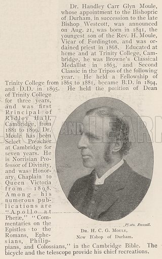 Dr HCG Moule, New Bishop of Durham. Illustration for The Illustrated London News, 24 August 1901.