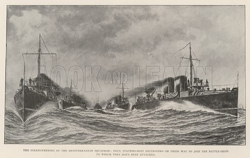The Strengthening of the Mediterranean Squadron, Four Torpedo-Boat Destroyers on their Way to join the Battle-Ships to which they have been attached. Illustration for The Illustrated London News, 24 August 1901.