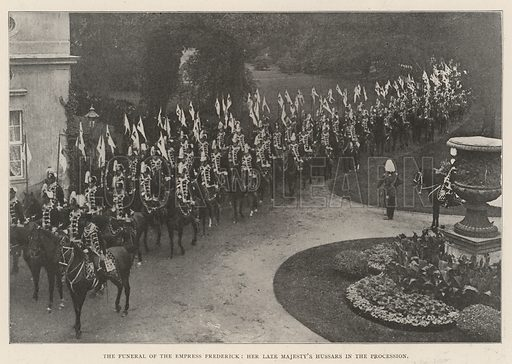 The Funeral of the Empress Frederick, Her late Majesty's Hussars in the Procession. Illustration for The Illustrated London News, 24 August 1901.