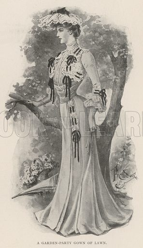 A Garden-Party Gown of Lawn. Illustration for The Illustrated London News, 24 August 1901.