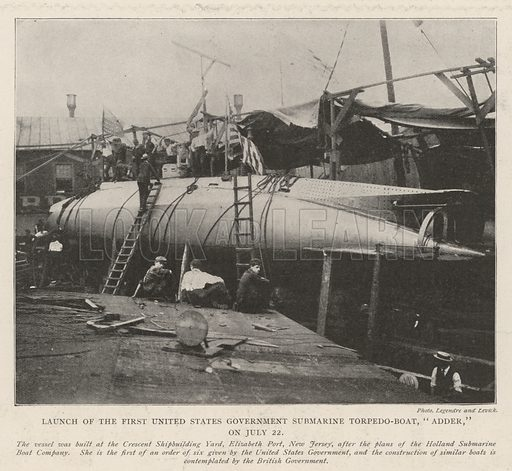 """Launch of the First United States Government Submarine Torpedo-Boat, """"Adder,"""" on 22 July. Illustration for The Illustrated London News, 24 August 1901."""
