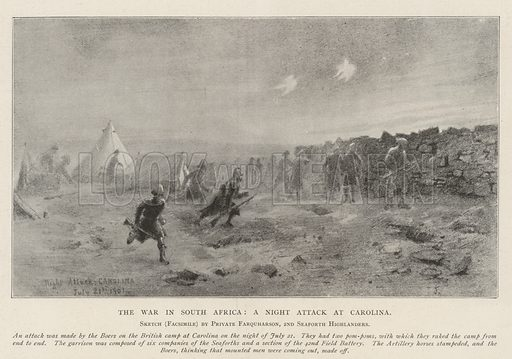 The War in South Africa, a Night Attack at Carolina. Illustration for The Illustrated London News, 7 September 1901.
