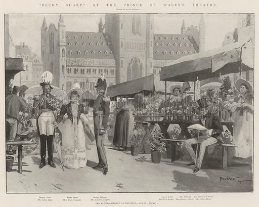 """""""Becky Sharp,"""" at the Prince of Wales's Theatre, the Flower-Market at Brussels, Act II, Scene I. Illustration for The Illustrated London News, 7 September 1901."""