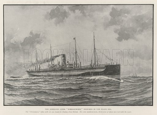 "The Johnston Liner ""Norranmore,"" wrecked in the Black Sea. Illustration for The Illustrated London News, 14 September 1901."