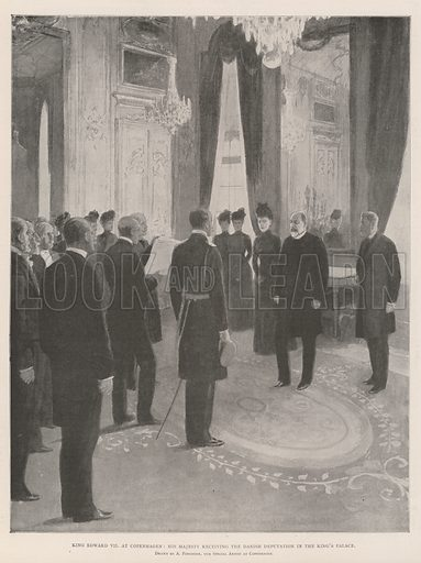 King Edward VII at Copenhagen, His Majesty receiving the Danish Deputation in the King's Palace. Illustration for The Illustrated London News, 21 September 1901.