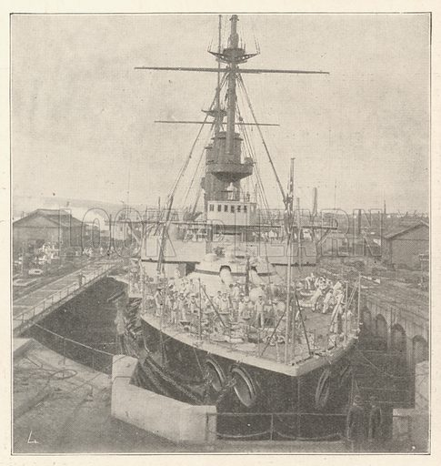 "HMS""Implacable,"" commissioned by Prince Louis of Battenberg. Illustration for The Illustrated London News, 21 September 1901."