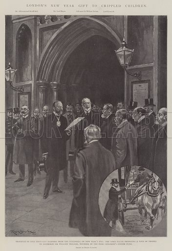 London's New Year Gift to Crippled Children, Despatch of Five Thousand Hampers from the Guildhall on New Year's Eve, the Lord Mayor proposing a Vote of Thanks to Alderman Sir William Treloar, Founder of the Poor Children's Dinner Fund. Illustration for The Illustrated London News, 4 January 1902.