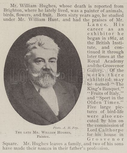 The late Mr William Hughes, Painter. Illustration for The Illustrated London News, 4 January 1902.