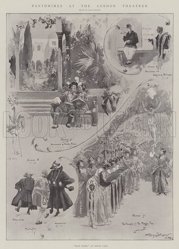 """Pantomimes at the London Theatres, """"Blue Beard"""" at Drury Lane. Illustration for The Illustrated London News, 4 January 1902."""