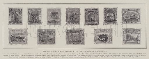 The Stamps of North Borneo, with Two Notable New Additions. Illustration for The Illustrated London News, 4 January 1902.