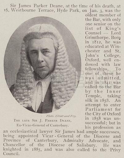 The late Sir J Parker Deane, Ex-Vicar-General of Canterbury. Illustration for The Illustrated London News, 11 January 1902.