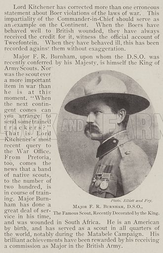 Major FR Burnham, DSO, the Famous Scout, recently decorated by the King. Illustration for The Illustrated London News, 11 January 1902.