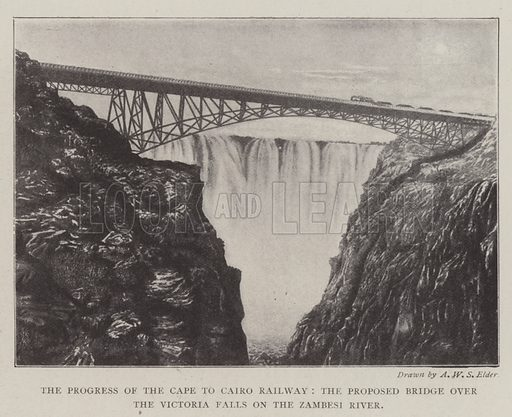 The Progress of the Cape to Cairo Railway, the Proposed Bridge over the Victoria Falls on the Zambesi River. Illustration for The Illustrated London News, 11 January 1902.