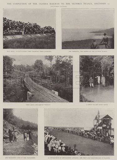 The Completion of the Uganda Railway to the Victoria Nyanza, 19 December. Illustration for The Illustrated London News, 11 January 1902.