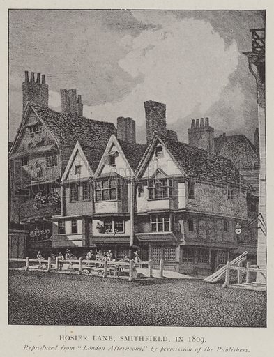 Hosier Lane, Smithfield, in 1809. Illustration for The Illustrated London News, 11 January 1902.