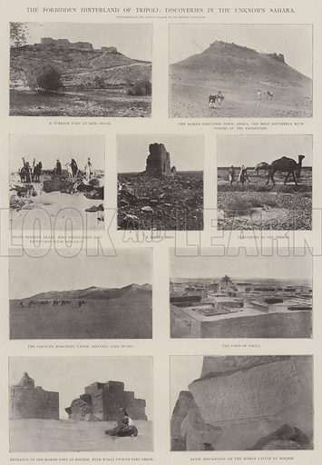 The Forbidden Hinterland of Tripoli, Discoveries in the Unknown Sahara. Illustration for The Illustrated London News, 11 January 1902.