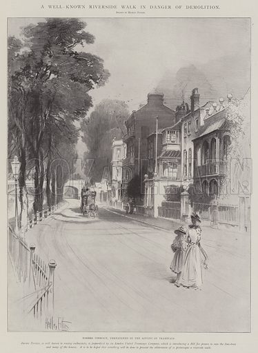 A Well-Known Riverside Walk in Danger of Demolition, Barnes Terrace, threatened by the Advent of Tramways. Illustration for The Illustrated London News, 11 January 1902.