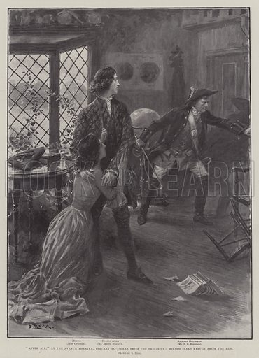 """After All,"" at the Avenue Theatre, 15 January, Scene from the Prologue, Miriam seeks Refuge from the Mob. Illustration for The Illustrated London News, 18 January 1902."