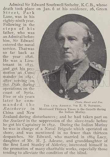 The late Admiral Sir ES Sotheby, mentioned Thirteen Times in the Gazette during the Indian Mutiny. Illustration for The Illustrated London News, 18 January 1902.