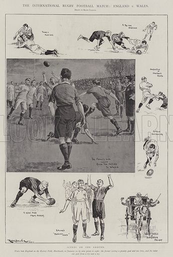 The International Rugby Football Match, England v Wales, Scene on the Ground. Illustration for The Illustrated London News, 18 January 1902.
