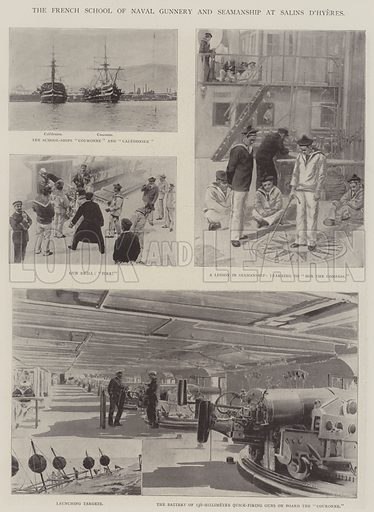 The French School of Naval Gunnery and Seamanship at Salins D'Hyeres. Illustration for The Illustrated London News, 25 January 1902.