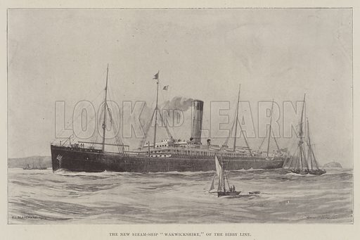 "The New Steam-Ship ""Warwickshire,"" of the Bibby Line. Illustration for The Illustrated London News, 25 January 1902."