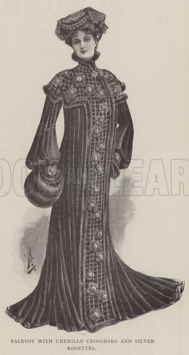 Paletot with Chenille Crossbars and Silver Rosettes. Illustration for The Illustrated London News, 25 January 1902.