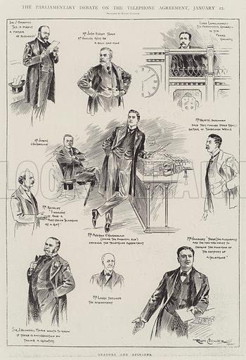 The Parliamentary Debate on the Telephone Agreement, 27 January, Orators and Opinions. Illustration for The Illustrated London News, 1 February 1902.