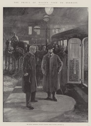 The Prince of Wales's Visit to Germany, His Royal Highness leaving Charing Cross Station, 24 January. Illustration for The Illustrated London News, 1 February 1902.