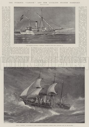 """The Overdue """"Condor"""" and her Luckless Spanish Namesake. Illustration for The Illustrated London News, 1 February 1902."""