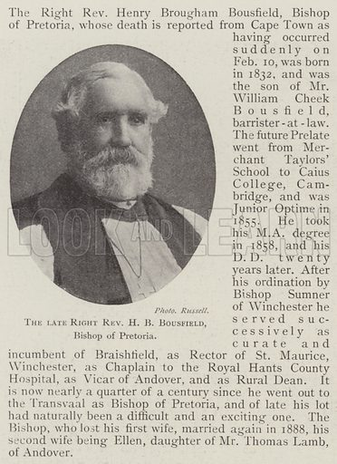 The late Right Reverend HB Bousfield, Bishop of Pretoria. Illustration for The Illustrated London News, 15 February 1902.