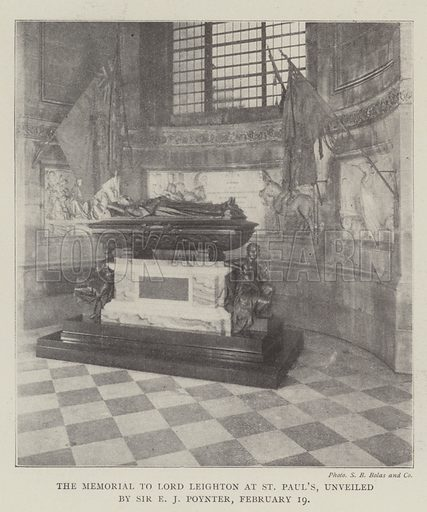 The Memorial to Lord Leighton at St Paul's, unveiled by Sir EJ Poynter, 19 February. Illustration for The Illustrated London News, 22 February 1902.