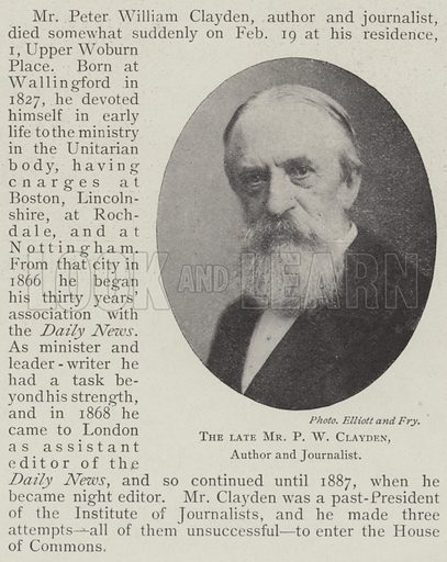 The late Mr PW Clayden, Author and Journalist. Illustration for The Illustrated London News, 1 March 1902.