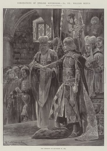 Coronations of English Sovereigns, William Rufus, the Ceremony on 26 September 1087. Illustration for The Illustrated London News, 8 March 1902.