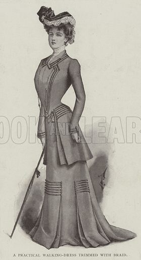 A Practical Walking-Dress trimmed with Braid. Illustration for The Illustrated London News, 8 March 1902.