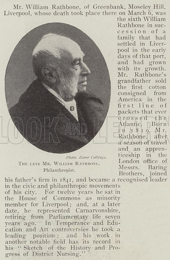 The late Mr William Rathbone, Philanthropist. Illustration for The Illustrated London News, 15 March 1902.