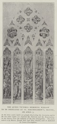 The Queen Victoria Memorial Window to be dedicated at St Bartholomew's, Bristol, on 5 April. Illustration for The Illustrated London News, 22 March 1902.