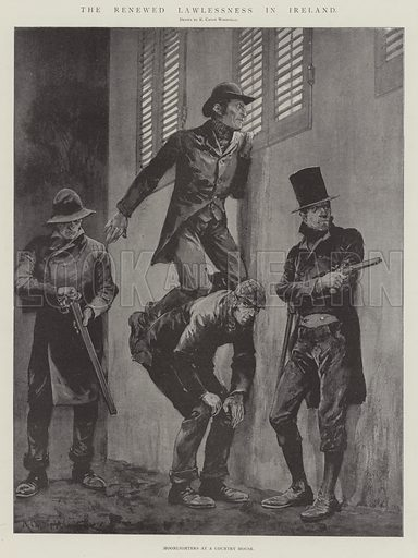 The Renewed Lawlessness in Ireland, Moonlighters at a Country House. Illustration for The Illustrated London News, 22 March 1902.