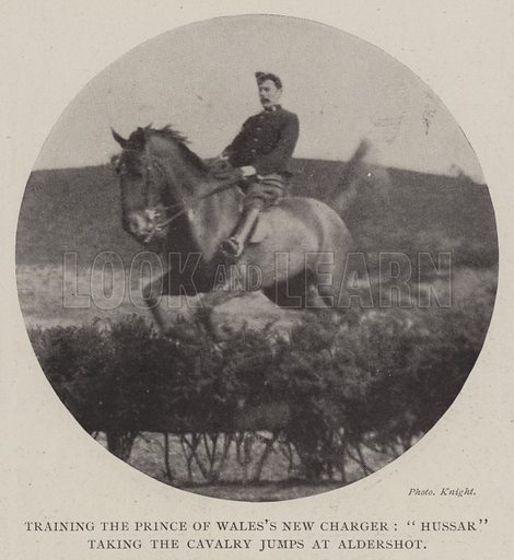 "Training the Prince of Wales's New Charger, ""Hussar"" taking the Cavalry Jumps at Aldershot. Illustration for The Illustrated London News, 29 March 1902."