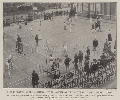 The International Badminton Tournament at the Crystal Palace, 19–20 March. Illustration for The Illustrated London News, 29 March 1902.
