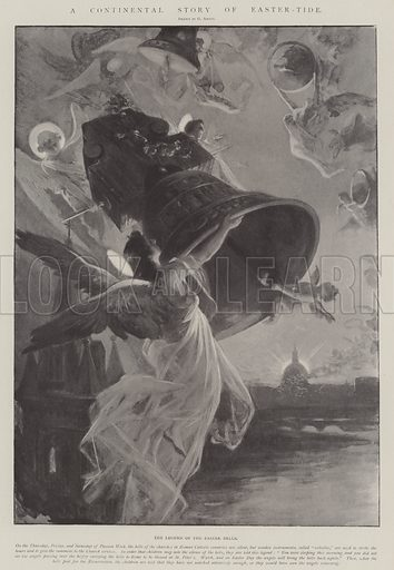 A Continental Story of Easter-Tide, the Legend of the Easter Bells. Illustration for The Illustrated London News, 29 March 1902.