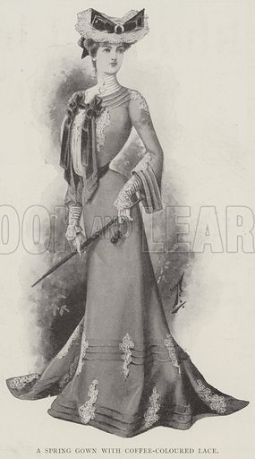 A Spring Gown with Coffee-Coloured Lace. Illustration for The Illustrated London News, 5 April 1902.