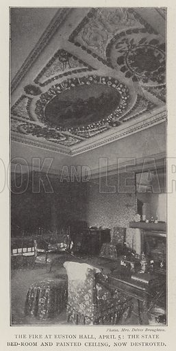 The Fire at Euston Hall, 5 April, the State Bed-Room and Painted Ceiling, now destroyed. Illustration for The Illustrated London News, 12 April 1902.