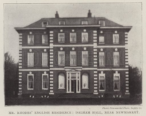 Mr Rhodes' English Residence, Dalham Hall, near Newmarket. Illustration for The Illustrated London News, 12 April 1902.