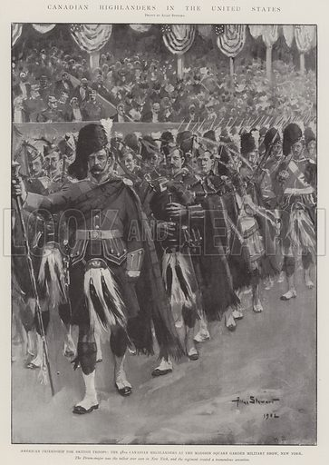 Canadian Highlanders in the United States, American Friendship for British Troops, the 48th Canadian Highlanders at the Madison Square Garden Military Show, New York. Illustration for The Illustrated London News, 12 April 1902.
