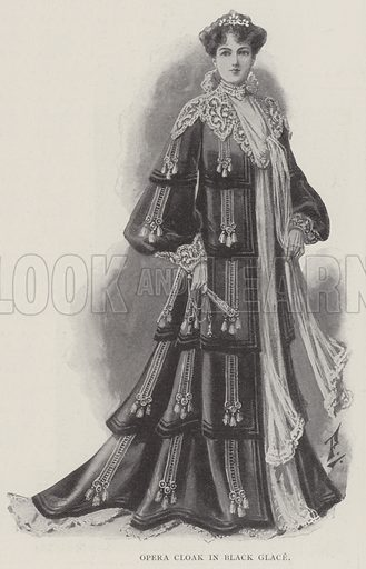 Opera Cloak in Black Glace. Illustration for The Illustrated London News, 12 April 1902.