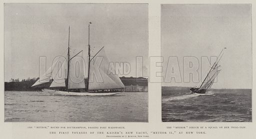 """The First Voyages of the Kaiser's New Yacht, """"Meteor II,"""" at New York. Illustration for The Illustrated London News, 19 April 1902."""