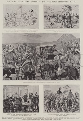 The Peace Negotiations, Scenes of the Boer Peace Settlement in 1881. Illustration for The Illustrated London News, 19 April 1902.
